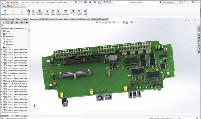 PCB in SOLIDWORKS with frame